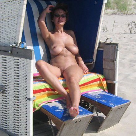 My naked wife at the beach, penis slowly penetrating vagina gif